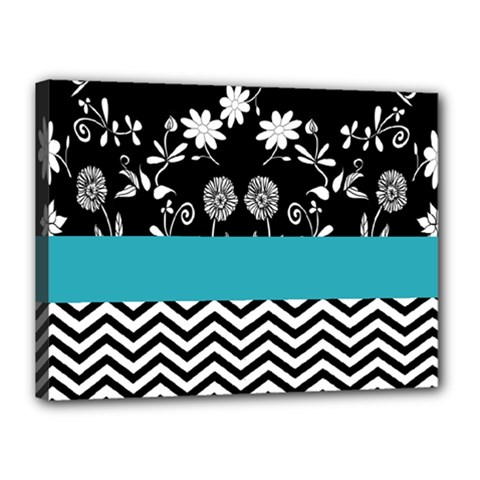 Flowers Turquoise Pattern Floral Canvas 16  X 12  by BangZart