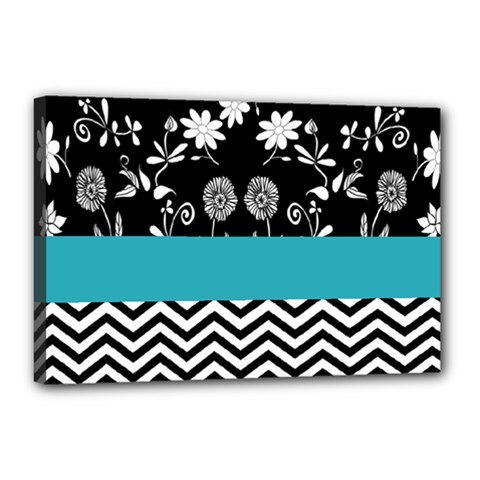 Flowers Turquoise Pattern Floral Canvas 18  X 12