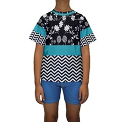 Flowers Turquoise Pattern Floral Kids  Short Sleeve Swimwear