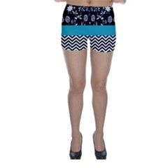 Flowers Turquoise Pattern Floral Skinny Shorts