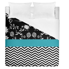 Flowers Turquoise Pattern Floral Duvet Cover (queen Size)