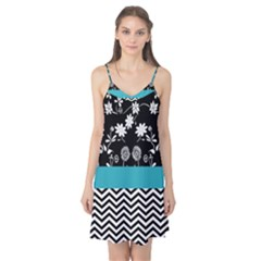 Flowers Turquoise Pattern Floral Camis Nightgown