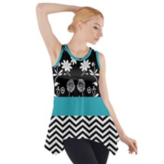 Flowers Turquoise Pattern Floral Side Drop Tank Tunic