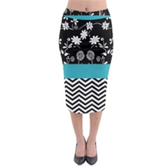 Flowers Turquoise Pattern Floral Midi Pencil Skirt