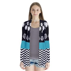 Flowers Turquoise Pattern Floral Drape Collar Cardigan