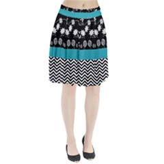 Flowers Turquoise Pattern Floral Pleated Skirt