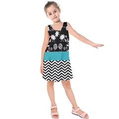 Flowers Turquoise Pattern Floral Kids  Sleeveless Dress
