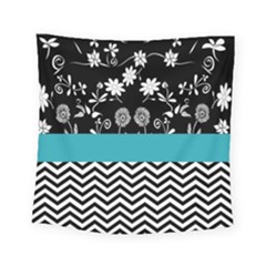 Flowers Turquoise Pattern Floral Square Tapestry (small)