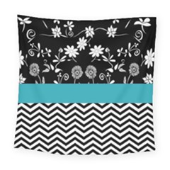 Flowers Turquoise Pattern Floral Square Tapestry (large)