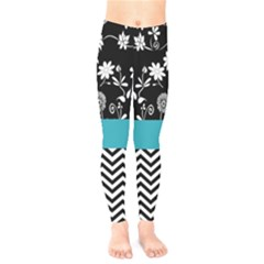 Flowers Turquoise Pattern Floral Kids  Legging