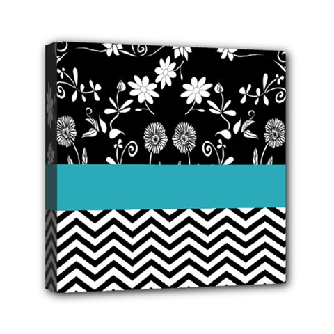 Flowers Turquoise Pattern Floral Mini Canvas 6  X 6  by BangZart