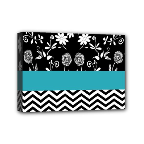 Flowers Turquoise Pattern Floral Mini Canvas 7  X 5  by BangZart