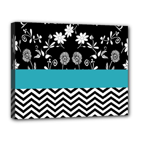 Flowers Turquoise Pattern Floral Canvas 14  X 11  by BangZart