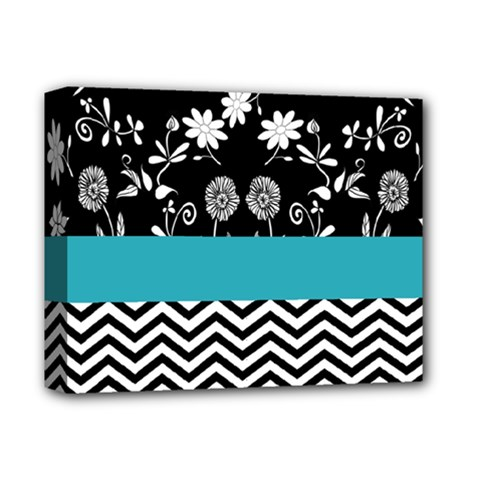 Flowers Turquoise Pattern Floral Deluxe Canvas 14  X 11  by BangZart