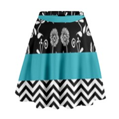 Flowers Turquoise Pattern Floral High Waist Skirt