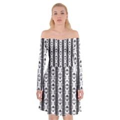 Pattern Background Texture Black Off Shoulder Skater Dress