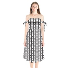 Pattern Background Texture Black Shoulder Tie Bardot Midi Dress