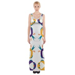 Pattern Circular Birds Maxi Thigh Split Dress