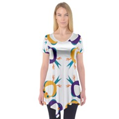 Pattern Circular Birds Short Sleeve Tunic