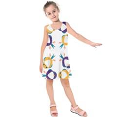 Pattern Circular Birds Kids  Sleeveless Dress