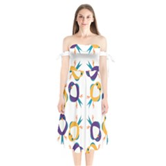 Pattern Circular Birds Shoulder Tie Bardot Midi Dress