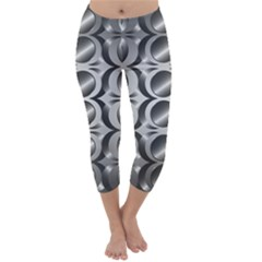 Metal Circle Background Ring Capri Winter Leggings