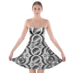 Metal Circle Background Ring Strapless Bra Top Dress