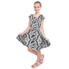Metal Circle Background Ring Kids  Short Sleeve Dress