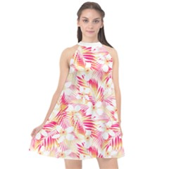 Flowers Leaves Pattern Halter Neckline Chiffon Dress  by Contest2284792