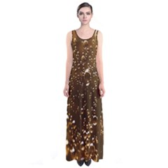 Festive Bubbles Sparkling Wine Champagne Golden Water Drops Sleeveless Maxi Dress by yoursparklingshop