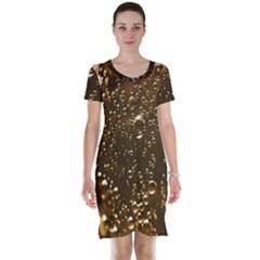 Festive Bubbles Sparkling Wine Champagne Golden Water Drops Short Sleeve Nightdress by yoursparklingshop