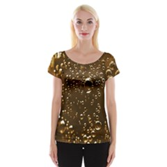Festive Bubbles Sparkling Wine Champagne Golden Water Drops Cap Sleeve Tops by yoursparklingshop