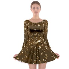 Festive Bubbles Sparkling Wine Champagne Golden Water Drops Long Sleeve Skater Dress by yoursparklingshop