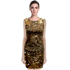 Festive Bubbles Sparkling Wine Champagne Golden Water Drops Classic Sleeveless Midi Dress by yoursparklingshop