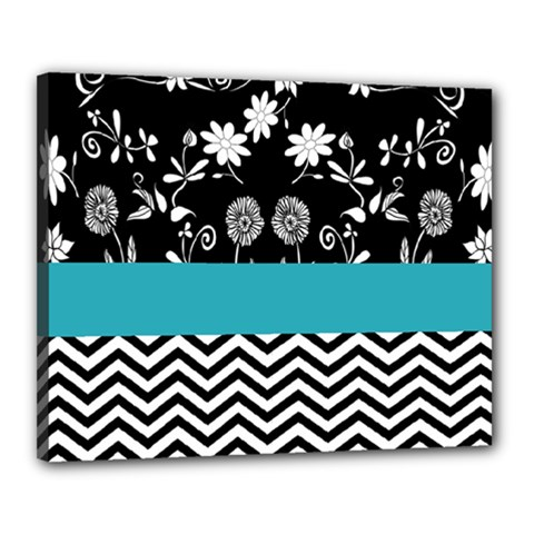 Flowers Turquoise Pattern Floral Canvas 20  X 16  by BangZart