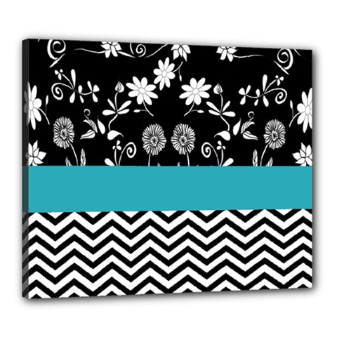 Flowers Turquoise Pattern Floral Canvas 24  X 20
