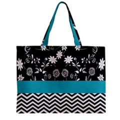 Flowers Turquoise Pattern Floral Zipper Mini Tote Bag