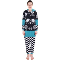 Flowers Turquoise Pattern Floral Hooded Jumpsuit (ladies)