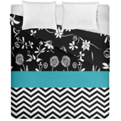 Flowers Turquoise Pattern Floral Duvet Cover Double Side (california King Size) by BangZart