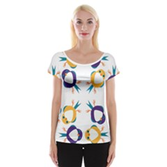 Pattern Circular Birds Cap Sleeve Tops