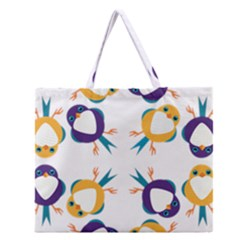 Pattern Circular Birds Zipper Large Tote Bag