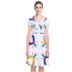 Pattern Circular Birds Short Sleeve Front Wrap Dress
