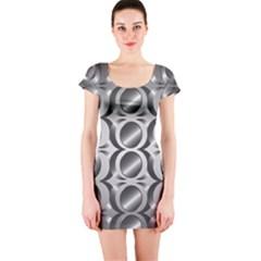 Metal Circle Background Ring Short Sleeve Bodycon Dress