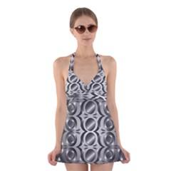 Metal Circle Background Ring Halter Swimsuit Dress