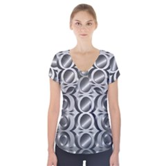 Metal Circle Background Ring Short Sleeve Front Detail Top