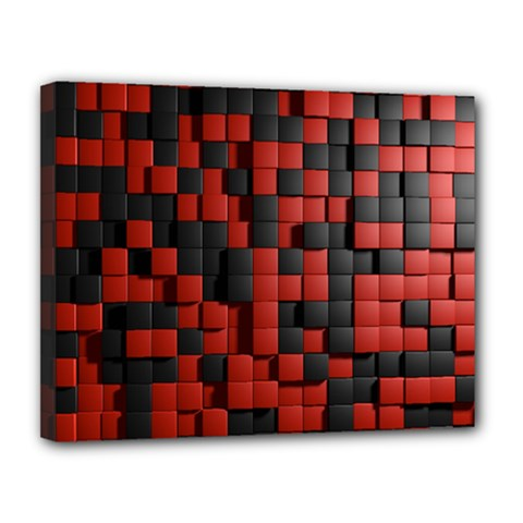 Black Red Tiles Checkerboard Canvas 14  X 11