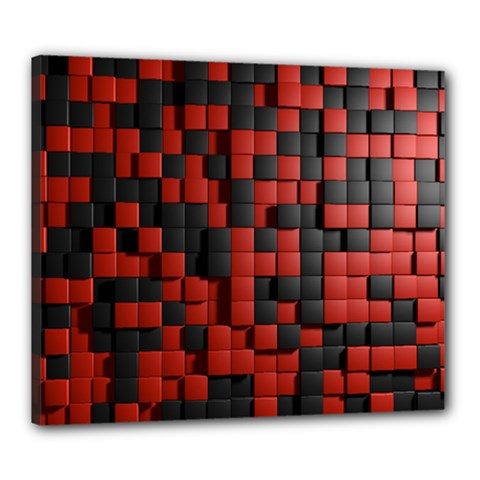 Black Red Tiles Checkerboard Canvas 24  X 20