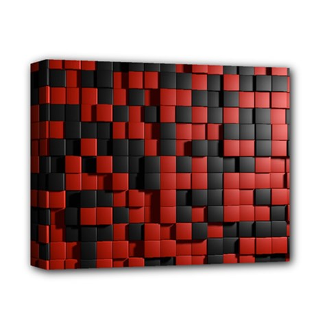 Black Red Tiles Checkerboard Deluxe Canvas 14  X 11  by BangZart
