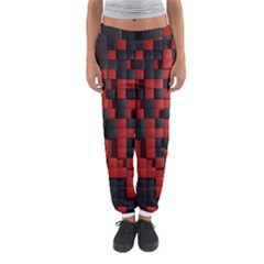 Black Red Tiles Checkerboard Women s Jogger Sweatpants