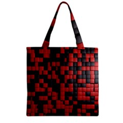 Black Red Tiles Checkerboard Zipper Grocery Tote Bag by BangZart